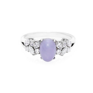 Purple Jade and Marquise Diamond Ring - HN JEWELRY