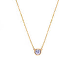 Bezel Set Diamond Pendant Necklace in Yellow Gold