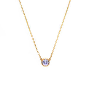 Bezel Set Diamond Pendant Necklace in Yellow Gold - HN JEWELRY