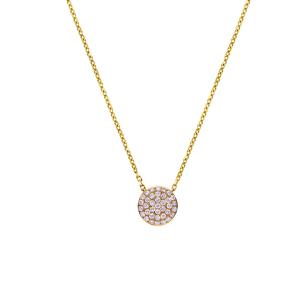 Pavé Diamond Circle Pendant Necklace in Yellow Gold