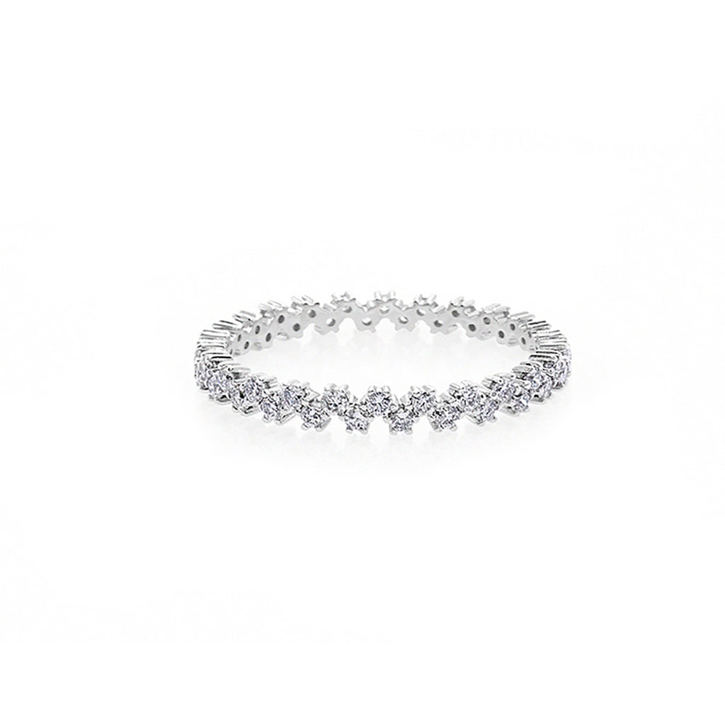 Diamond Wedding Eternity Ring in 18K White Gold - HN JEWELRY