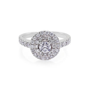 Double Halo Diamond Engagement Ring in 18K White Gold - HN JEWELRY