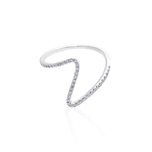 V Shaped Diamond Ring in 18K White Gold (Mini Version) - HN JEWELRY