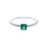 Square Cut Emerald and Diamond Ring