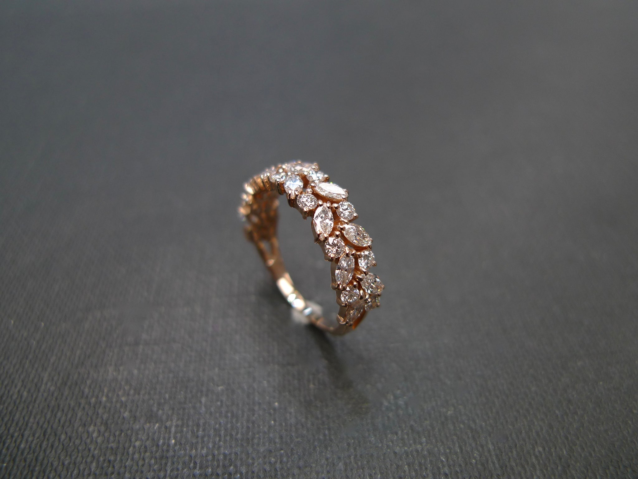 Marquise Diamond Half Eternity Ring in Rose Gold - HN JEWELRY