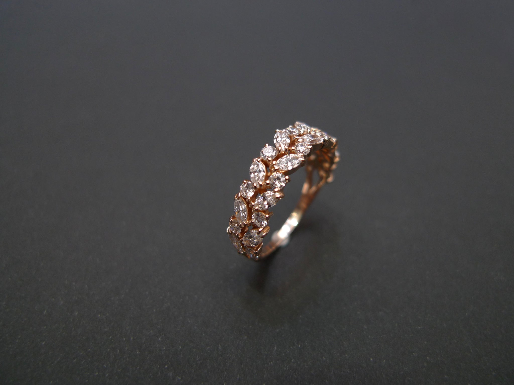 Marquise Diamond Half Eternity Ring in Rose Gold