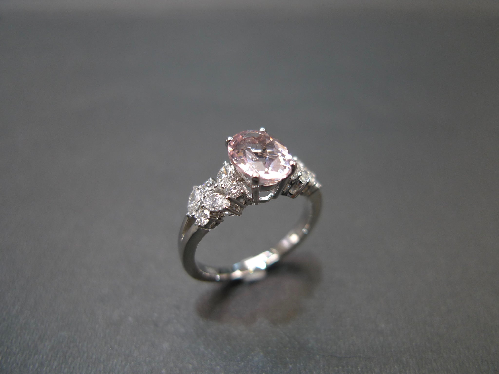 Champagne Morganite & Marquise Diamond Engagement Ring in 18K White Gold - HN JEWELRY