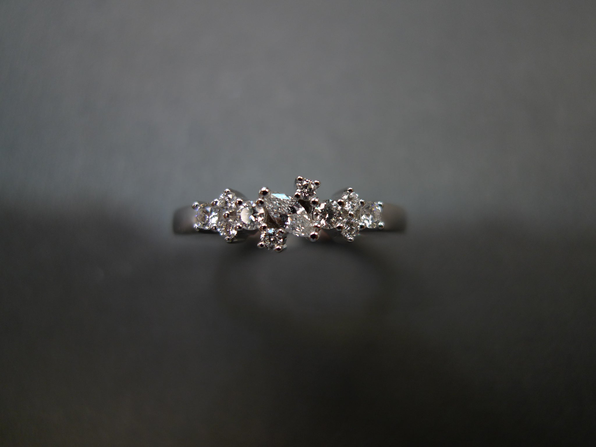 Marquise Diamond Ring in 14K White Gold - HN JEWELRY