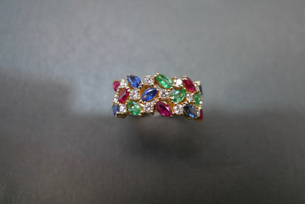 Three Rows Marquise Diamond Ring with Ruby, Blue Sapphire and Emerald in 18K Yellow Gold - HN JEWELRY