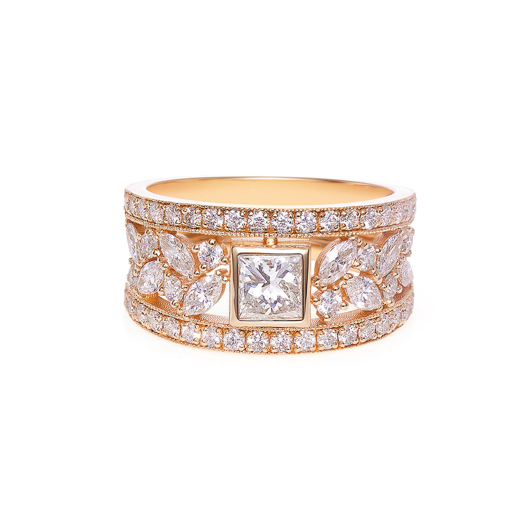 Princess Diamond and Marquise Diamond Wide Ring Band
