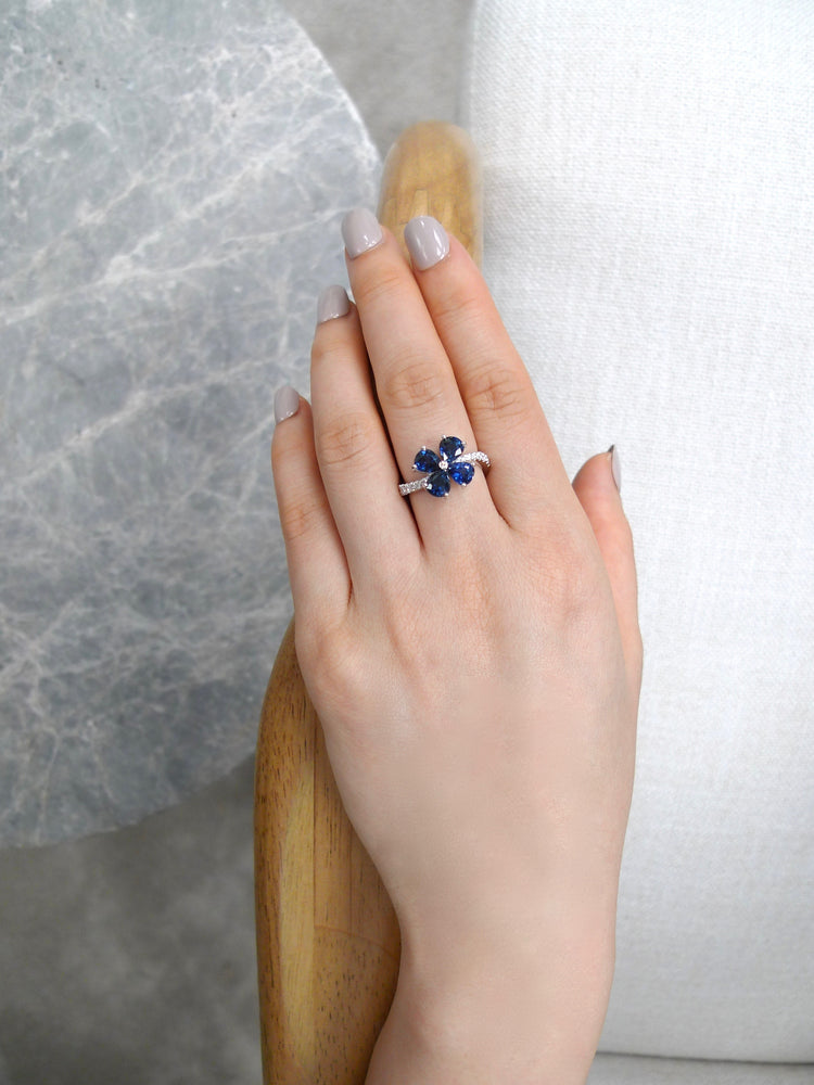 Pear Shaped Blue Sapphire & Diamond Twist Floral Ring
