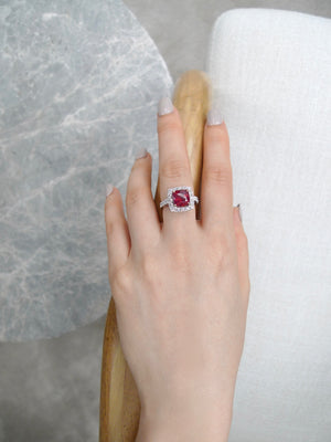 Halo Diamond and Cushion Shape Ruby Ring in 18K White Gold - HN JEWELRY