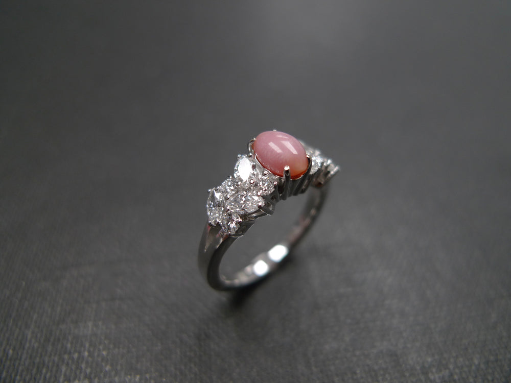 Conch Pearl & Marquise Diamond Engagement Ring