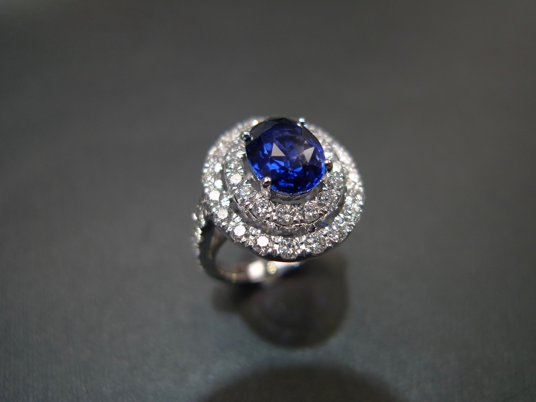 3.04ct Ceylon Blue Sapphire and Diamond Double Halo Ring in 18K White Gold - HN JEWELRY