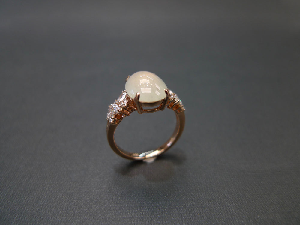 Icy Jade & Marquise Diamond Ring in Rose Gold