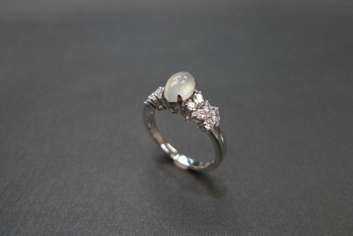 Icy Marquise Jade & Diamond Engagement Ring - HN JEWELRY