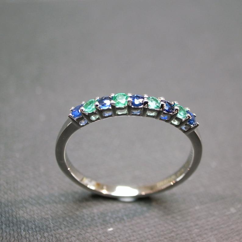 Blue Sapphire and Emerald Ring in White Gold