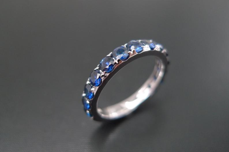 Half Eternity Blue Sapphire Ring in 14K White Gold - HN JEWELRY