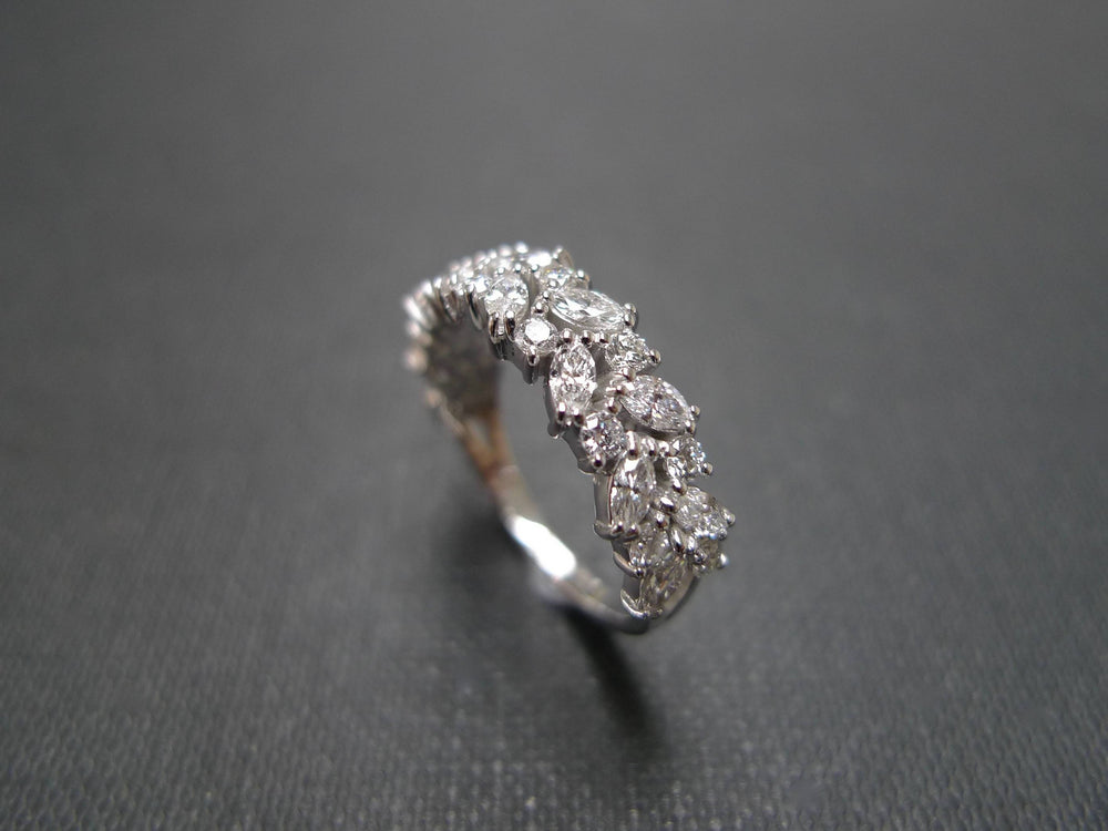 Marquise Diamond Half Eternity Ring in White Gold