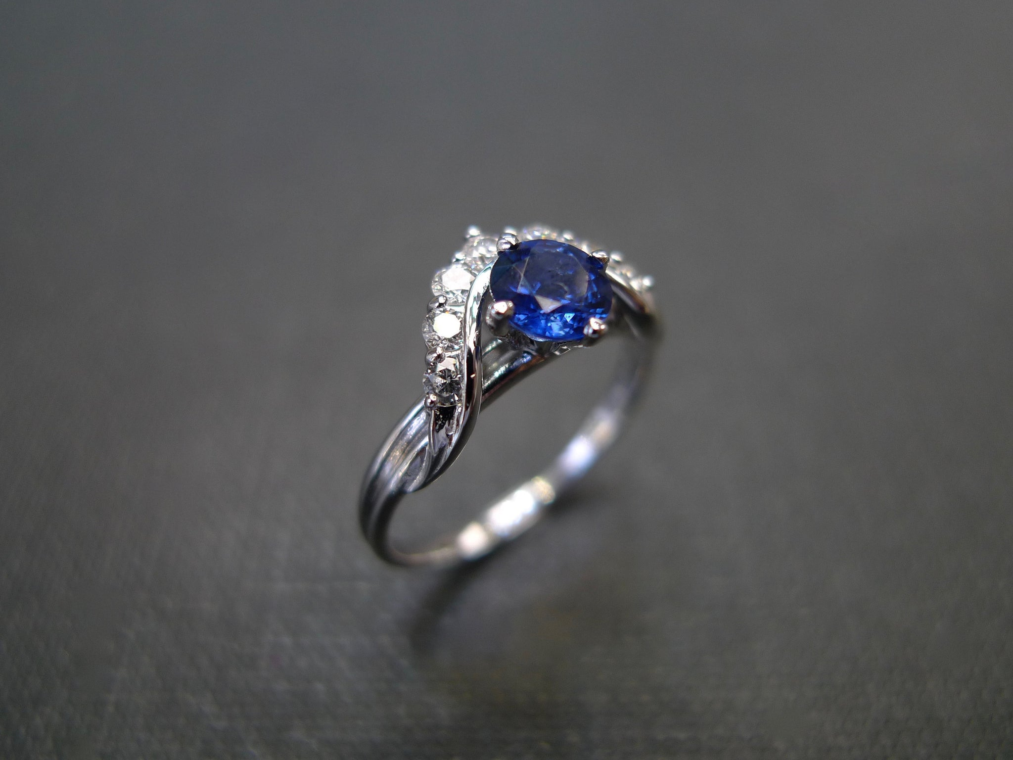 Crown Blue Sapphire and Diamond Engagement Ring - HN JEWELRY