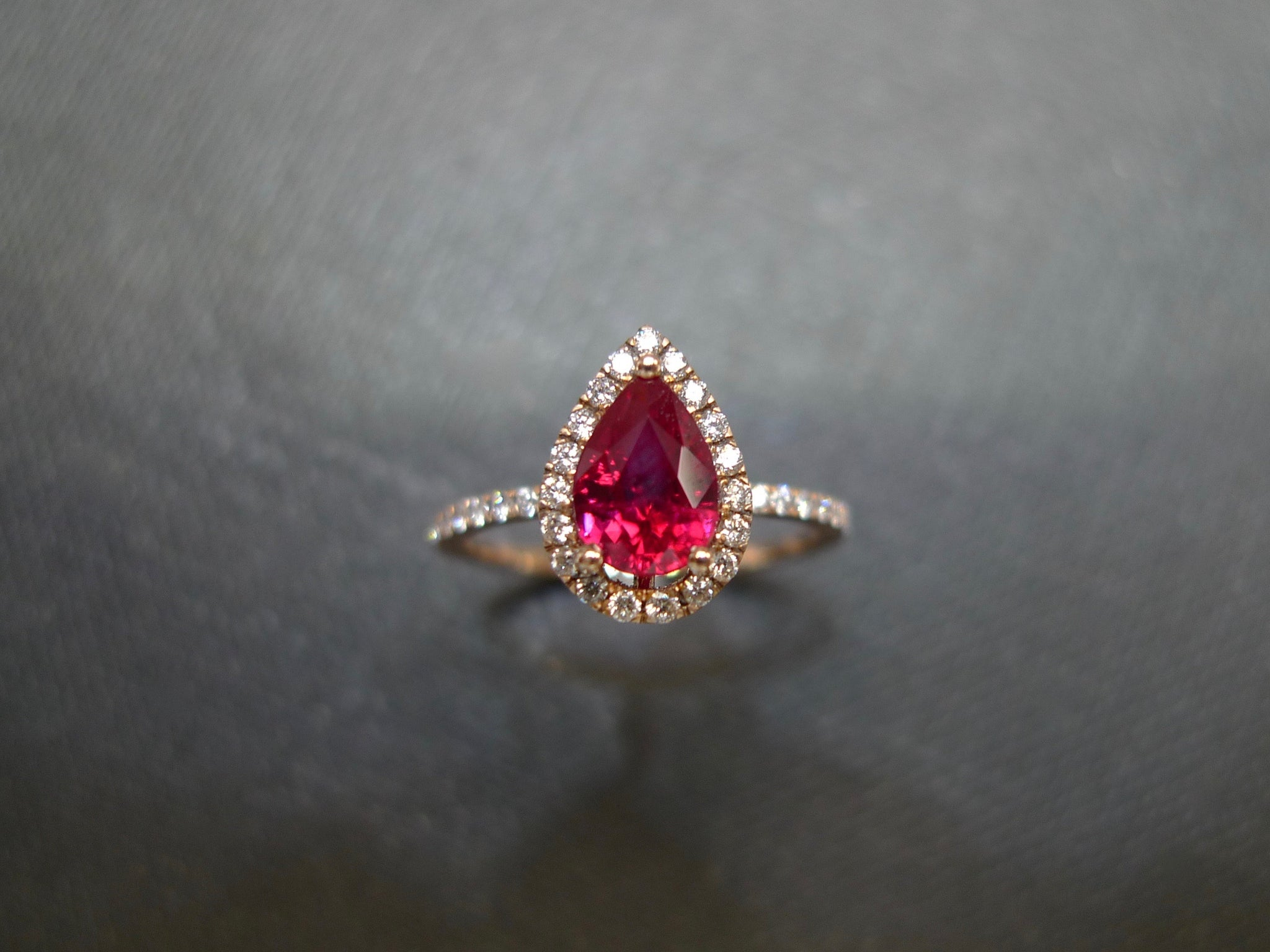 Pear Shaped Ruby and Diamond Ring - HN JEWELRY