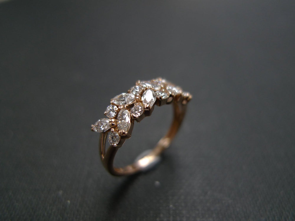 rose gold marquise diamond wedding ring