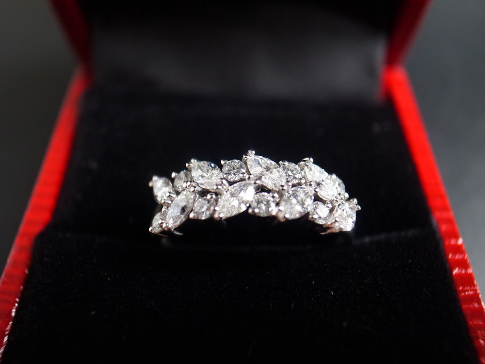 marquise diamond wedding ring in white gold
