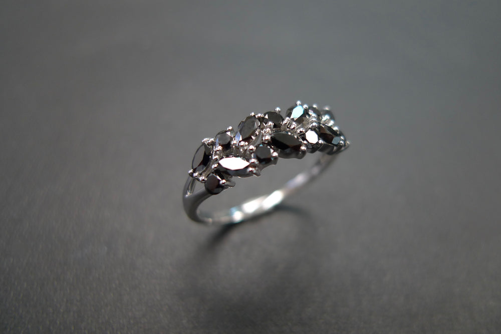 Marquise Black Diamond Ring in 18K White Gold - HN JEWELRY