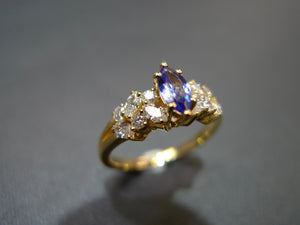 Marquise Tanzanite and Diamond Ring in 14K Yellow Gold - HN JEWELRY