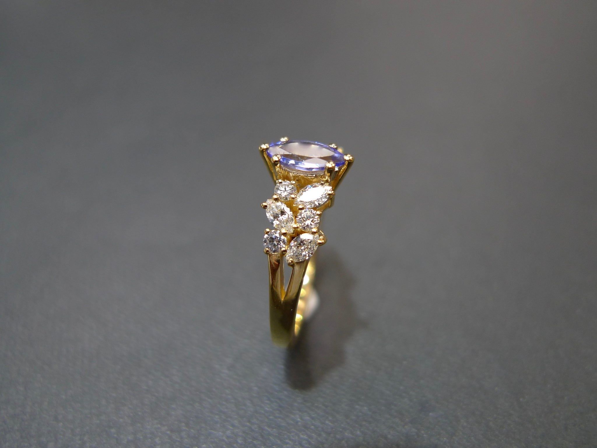 Marquise Tanzanite and Diamond Ring in 14K Yellow Gold