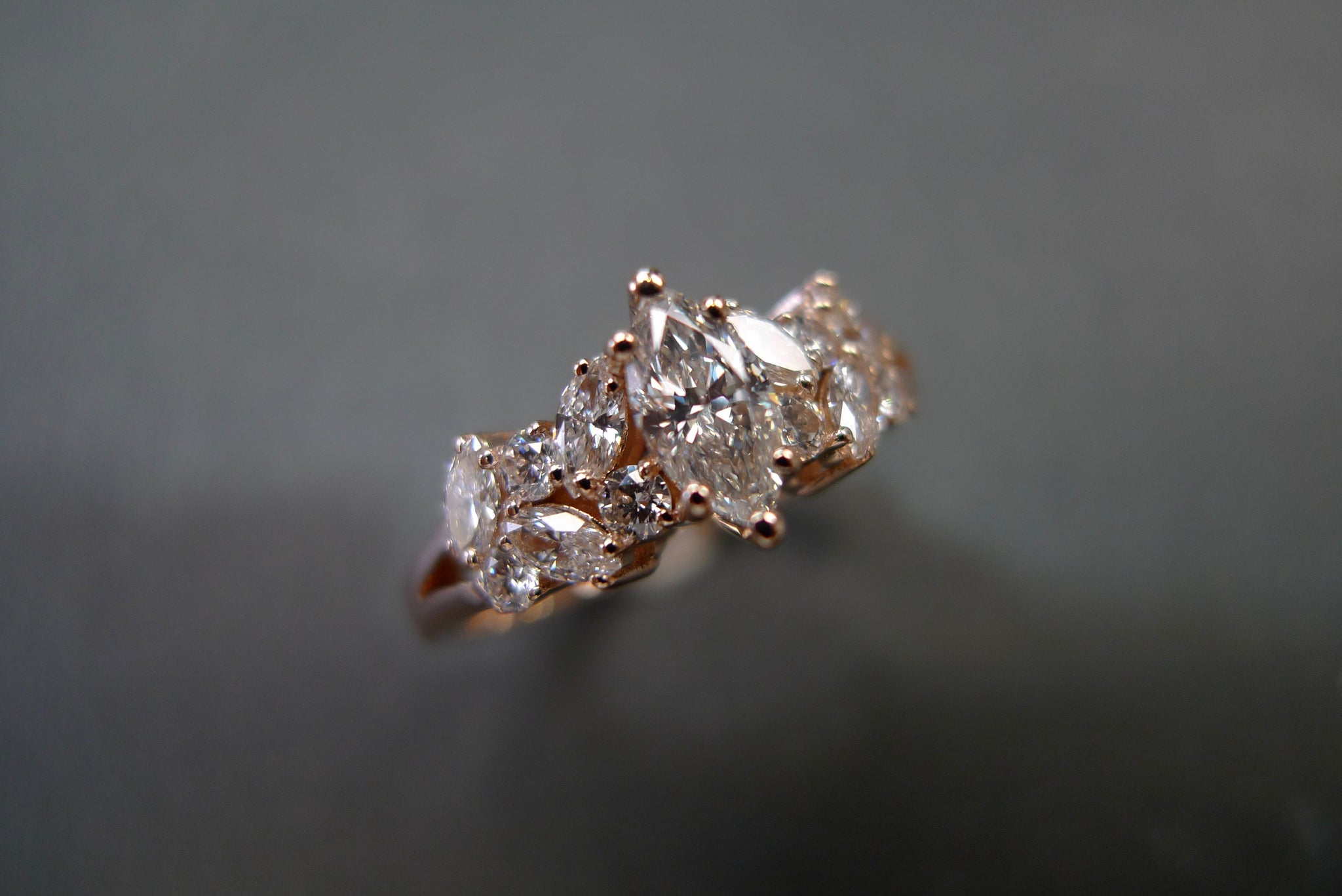 Marquise Diamond Engagement Ring in 18K Rose Gold - HN JEWELRY