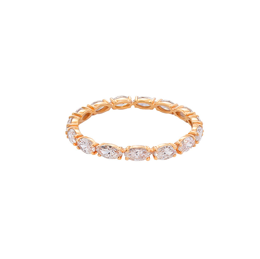 Marquise Diamond Eternity Wedding Ring in Rose Gold - HN JEWELRY