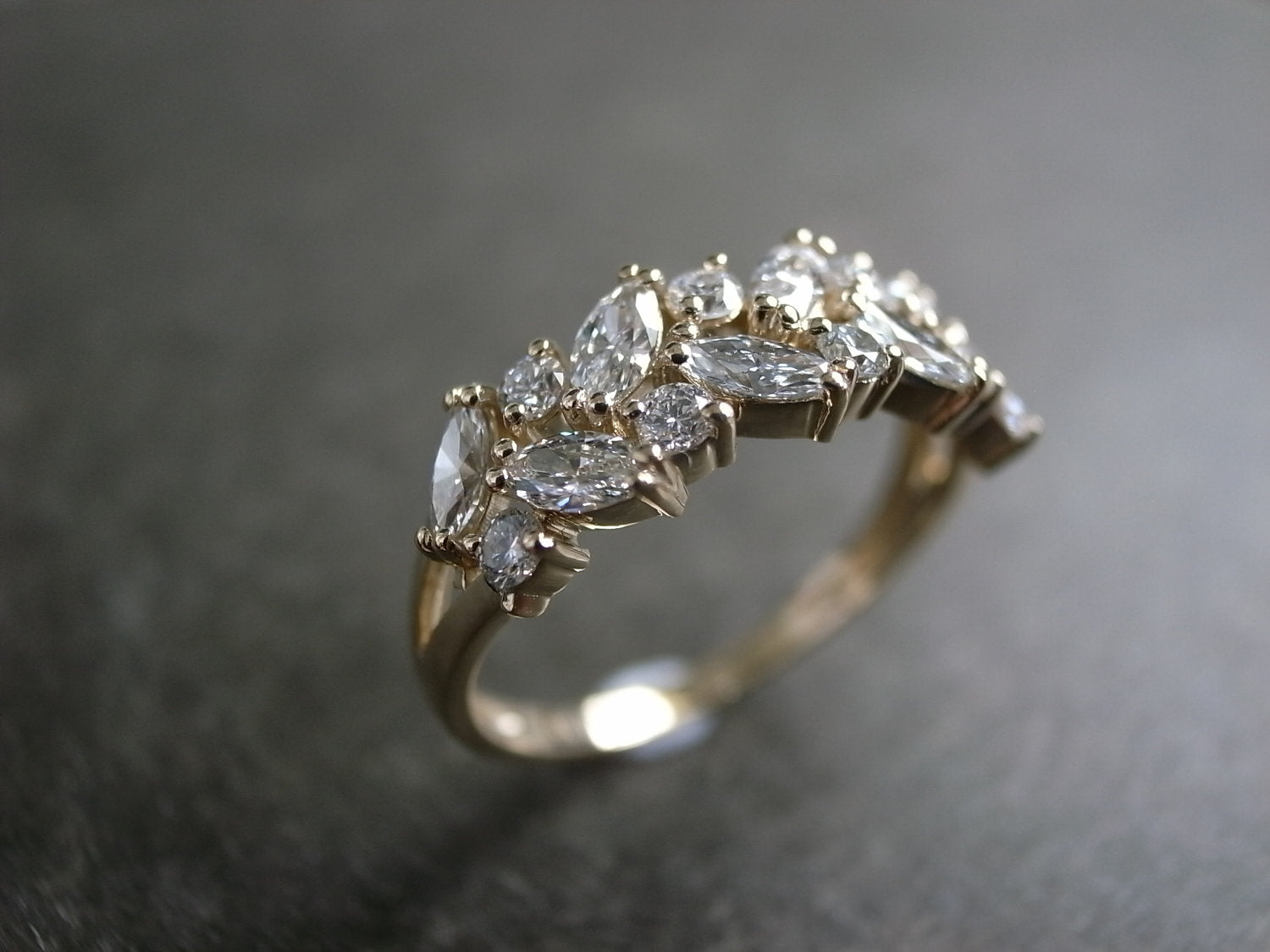 Marquise Diamond Ring in 14K Yellow Gold - HN JEWELRY