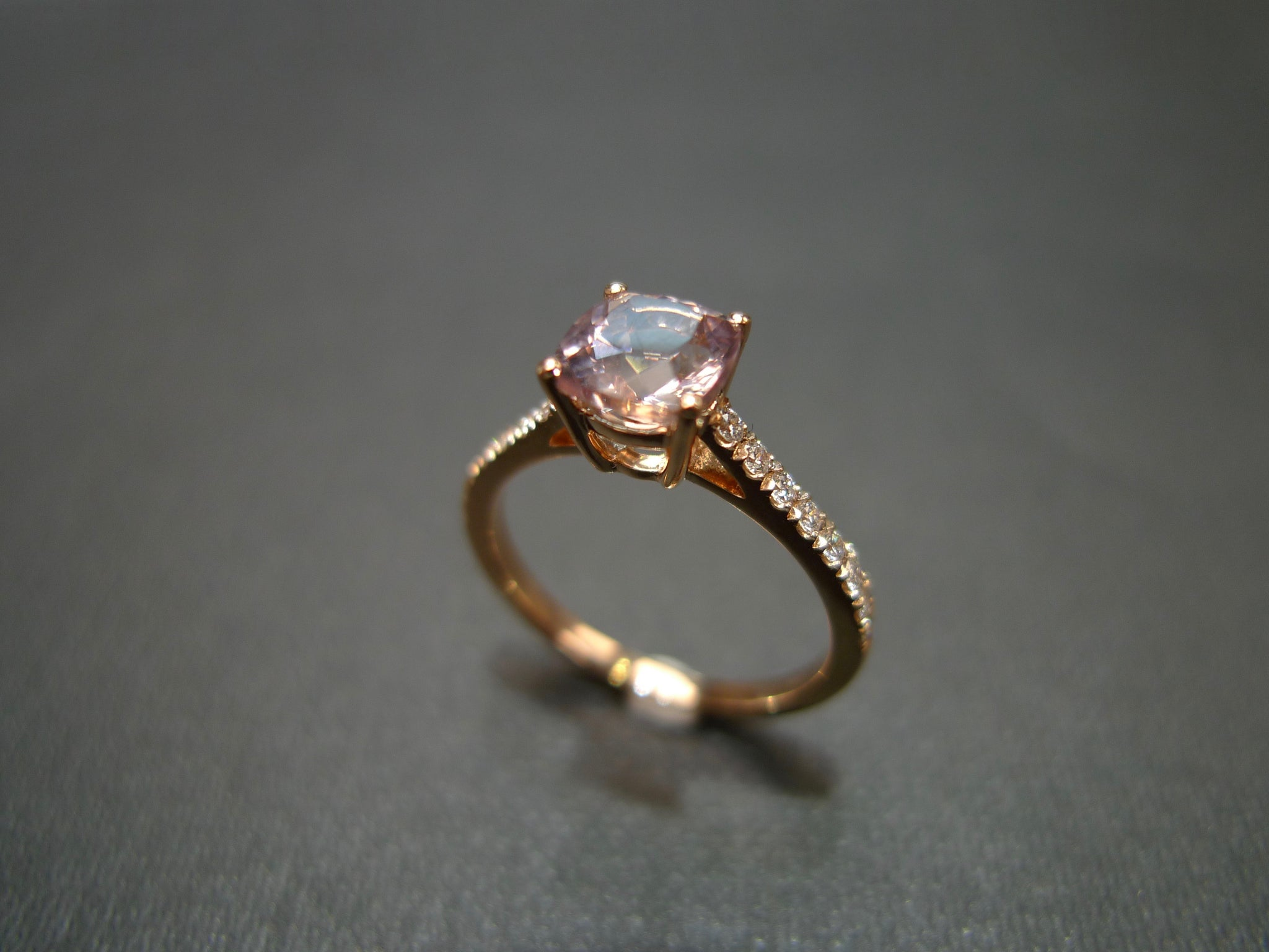 Champagne Morganite & Diamond Engagement Ring in 18K Rose Gold - HN JEWELRY