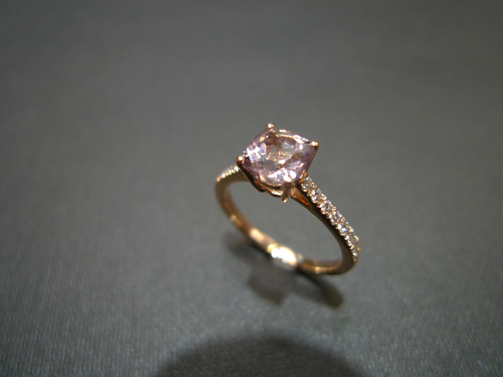 Champagne Morganite Diamond Engagement Ring in Rose Gold