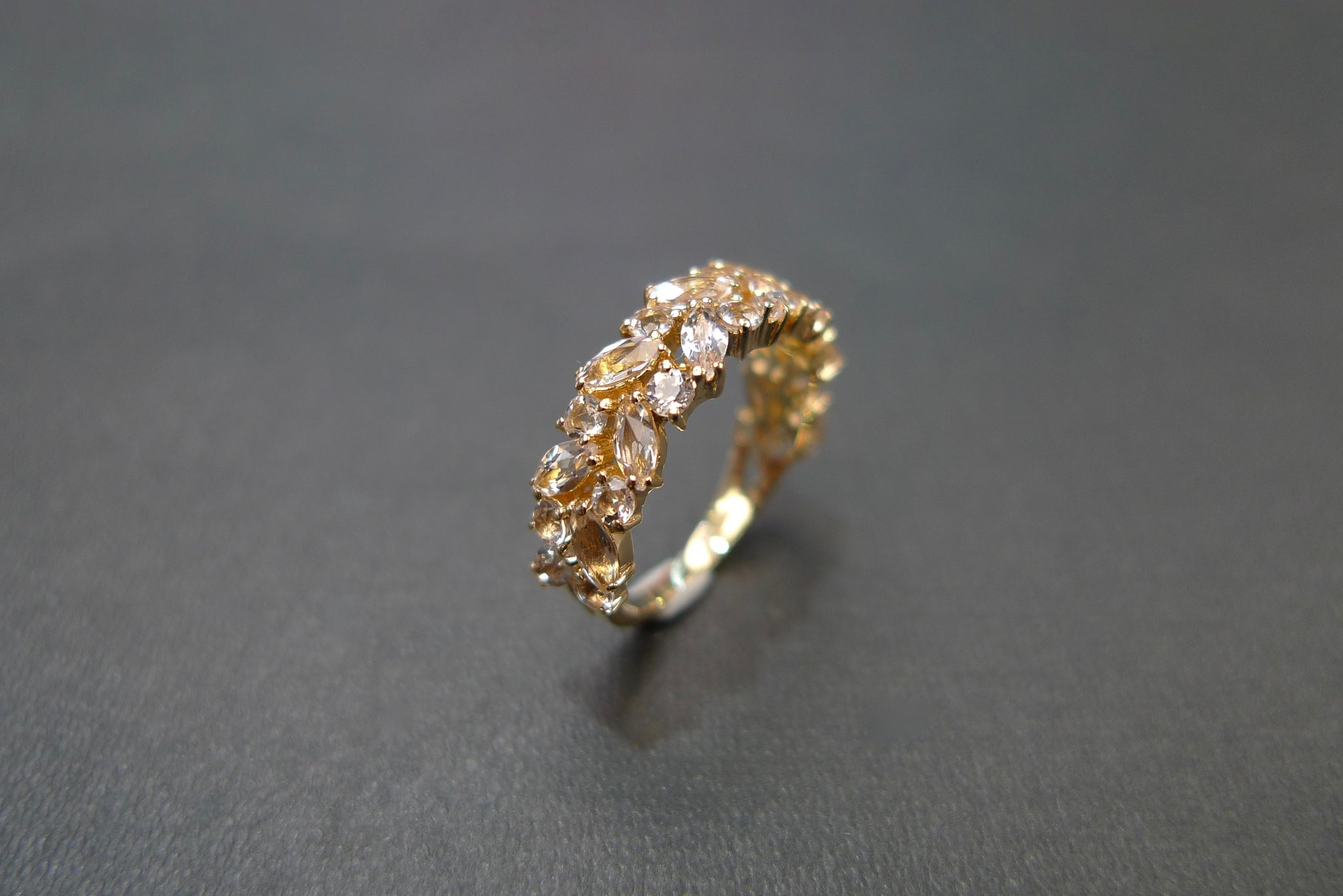 Champagne Marquise Morganite Half Eternity Ring in 14K Yellow Gold - HN JEWELRY