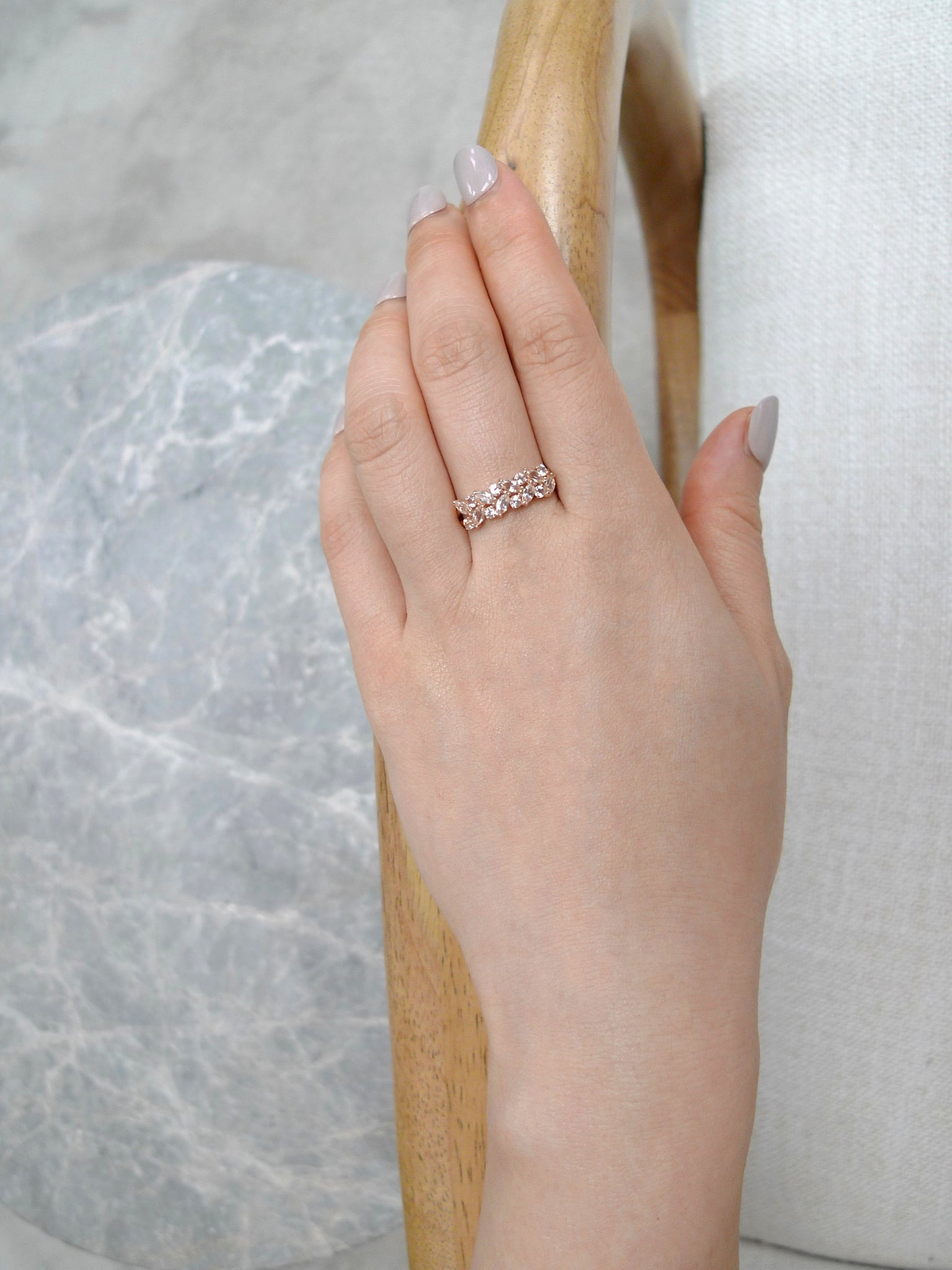 Champagne Marquise Morganite Ring in 14K Rose Gold - HN JEWELRY