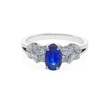Blue Sapphire and Marquise Diamond Ring