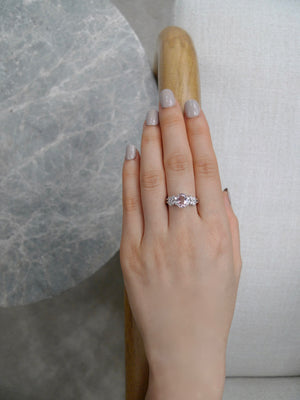 Champagne Morganite & Marquise Diamond Engagement Ring in 18K White Gold