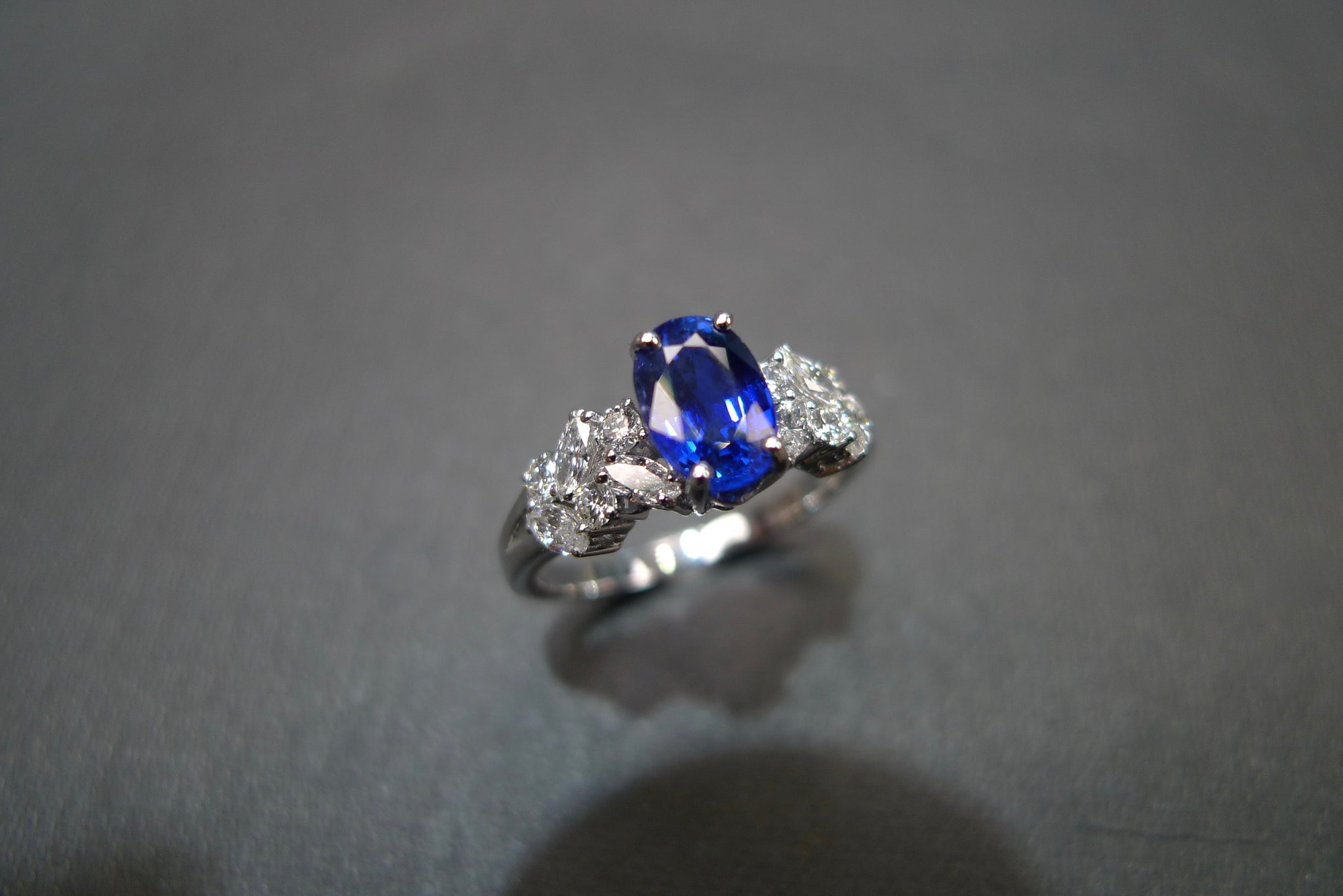 Blue Sapphire & Marquise Diamond Ring in 14K White Gold - HN JEWELRY