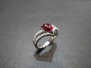 Pear Shaped Ruby and Diamond Ring in 18K White Gold - HN JEWELRY