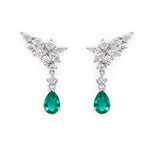 Pear Cut Emerald and Marquise Diamonds Earrings