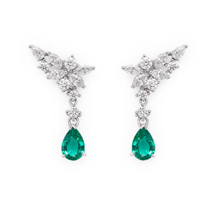 Pear Cut Emerald and Marquise Diamonds Earrings - HN JEWELRY
