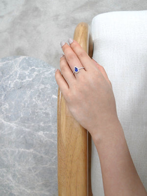 Pear Shaped Blue Sapphire Diamond Ring in White Gold - HN JEWELRY