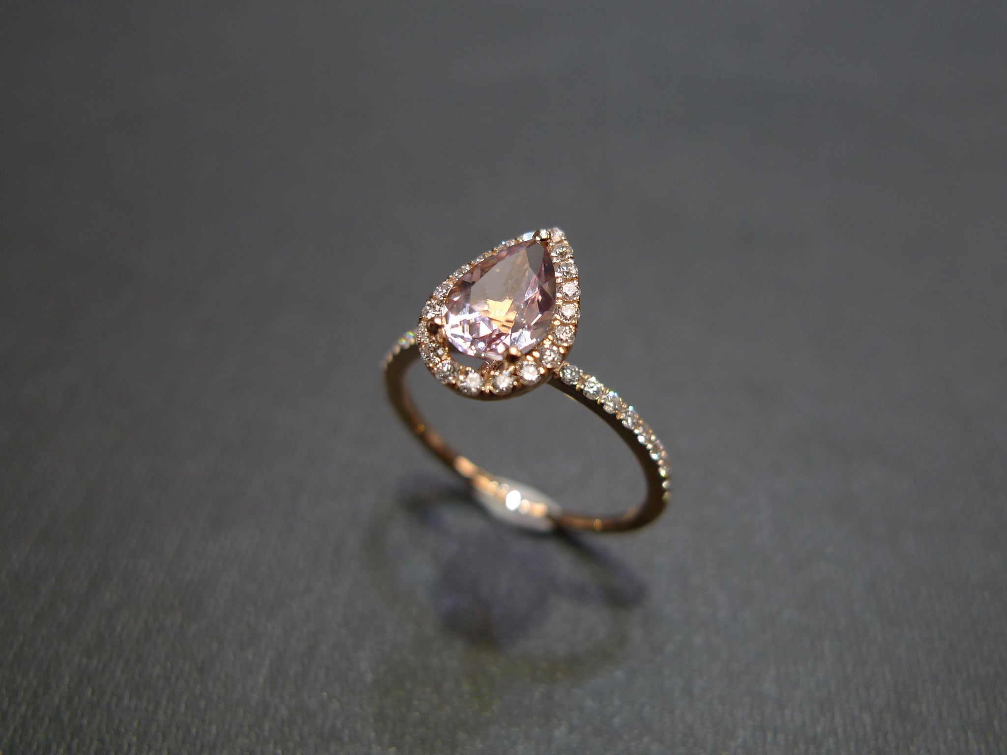 Pear Shaped Morganite & Diamond Ring in 18K Rose Gold