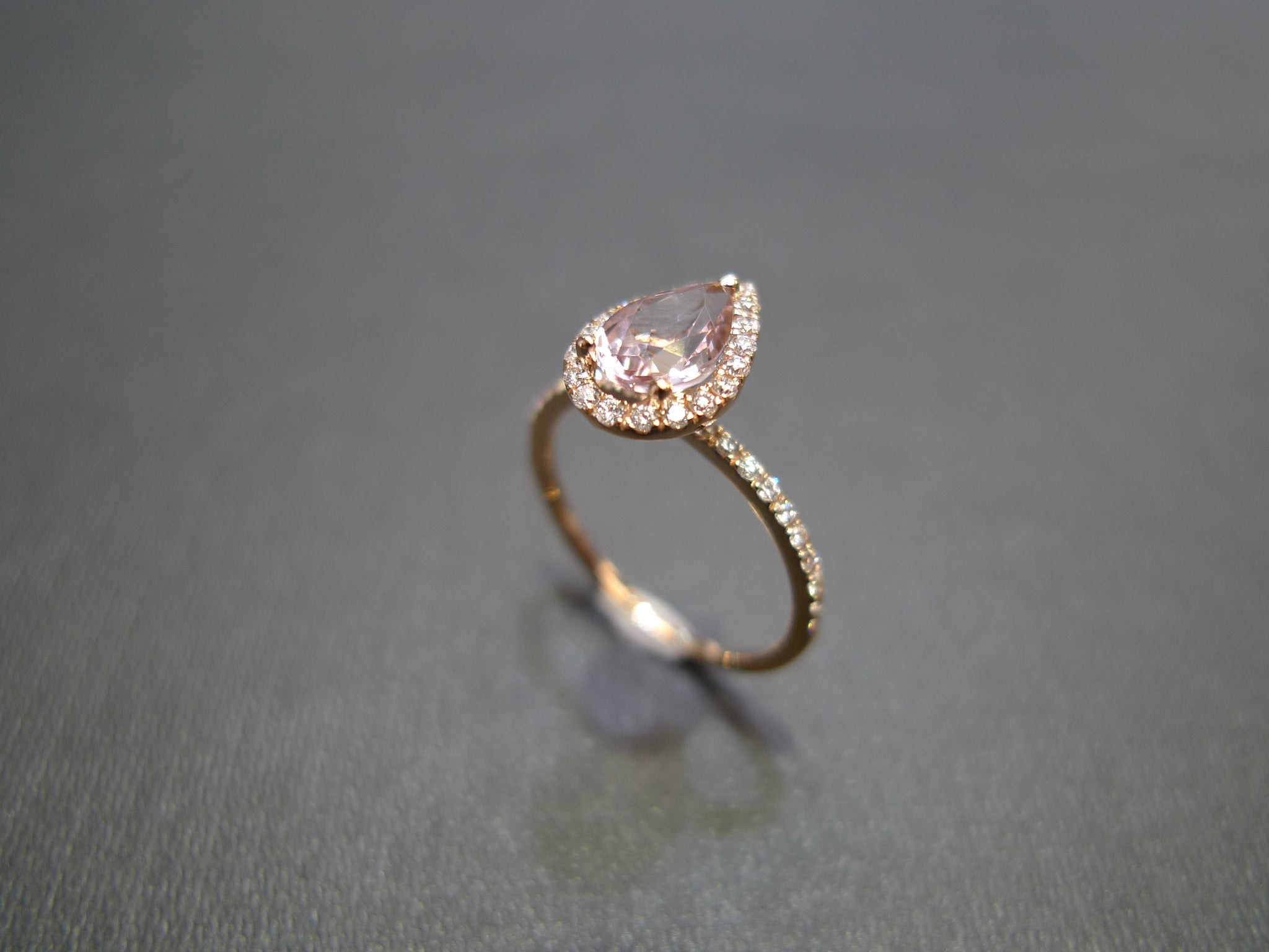 Pear Shaped Morganite & Diamond Ring in 18K Rose Gold - HN JEWELRY