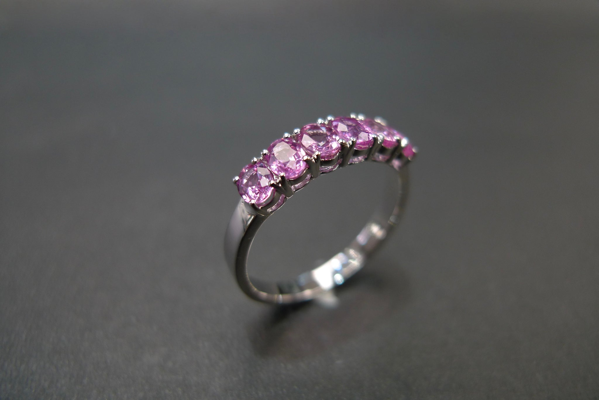 Oval Shape Pink Sapphire Ring in White Gold - HN JEWELRY