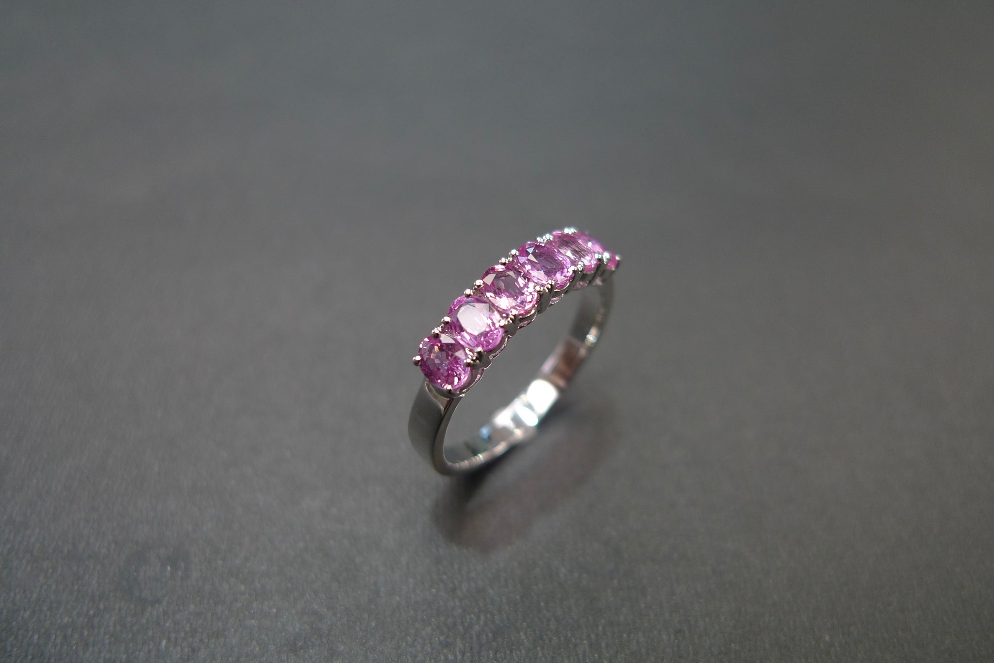 Oval Shape Pink Sapphire Ring in White Gold