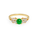 Natural Jade & Marquise Diamond Ring