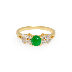 Natural Jade & Marquise Diamond Ring - HN JEWELRY